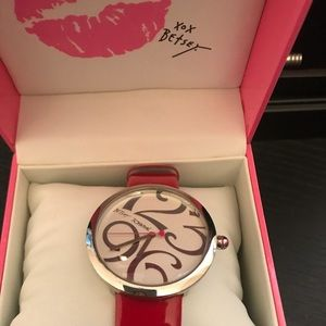 Betsey Johnson red leather watch